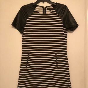 Black & White Casual Dress with Leather Sleeves